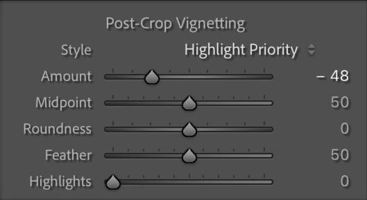 Post-Crop Vignetting